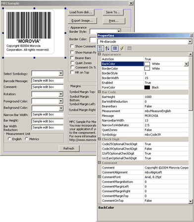 Morovia Barcode ActiveX Control Screenshot 2