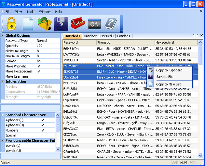 Password Generator Professional 2008 Screenshot 1