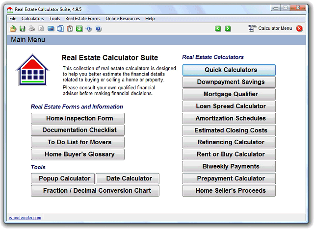 Real Estate Calculator Suite Screenshot