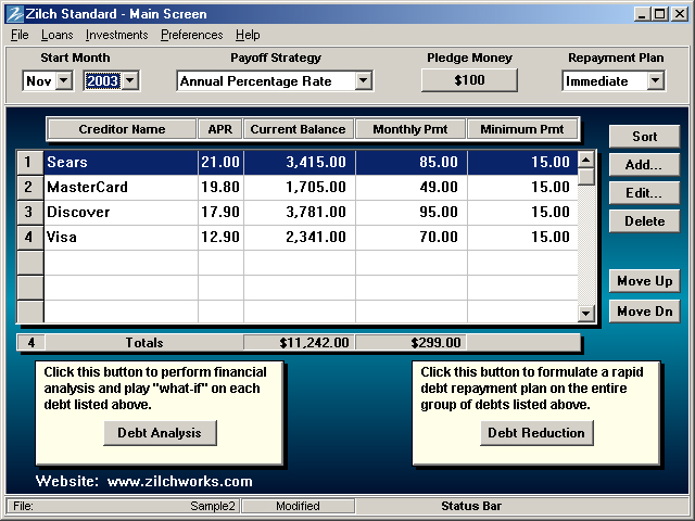 Debt Reduction - Zilch Standard Screenshot