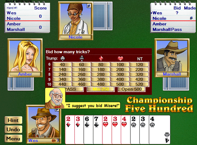 Championship Five Hundred for Windows Screenshot