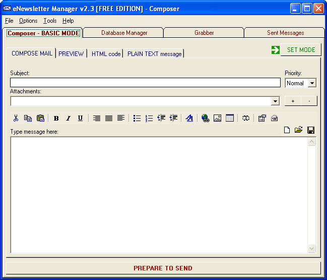 eNewsletter Manager Free Edition Screenshot 1