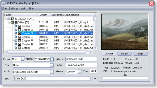 A1 DVD Audio Ripper Screenshot