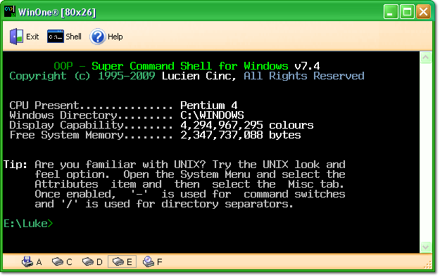 WinOne - Super Command Shell for Windows Screenshot