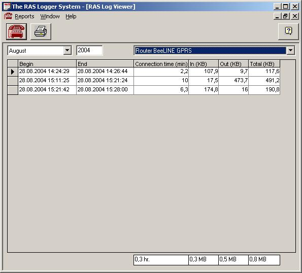 The RAS Logger System Screenshot