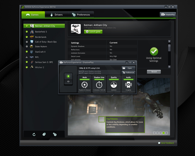 NVIDIA GeForce Experience Screenshot 2