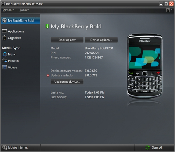 BlackBerry Desktop Manager Screenshot 1