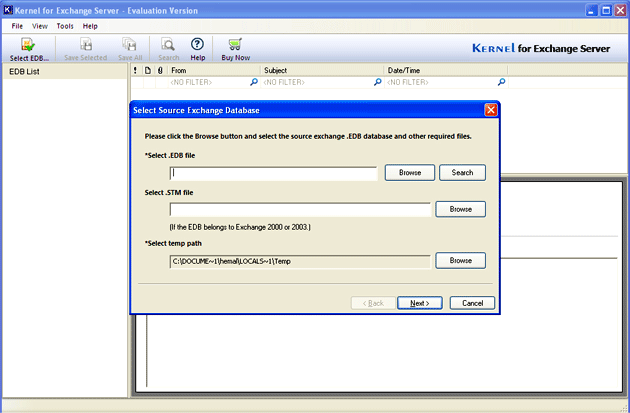 Disaster Recovery Exchange Screenshot