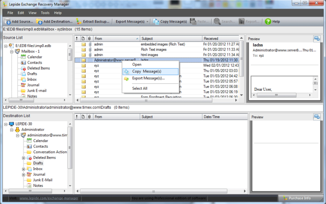 Free EDB File Recovery Screenshot