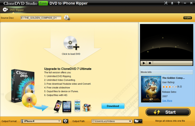 CloneDVD Free DVD to iPhone Converter Screenshot