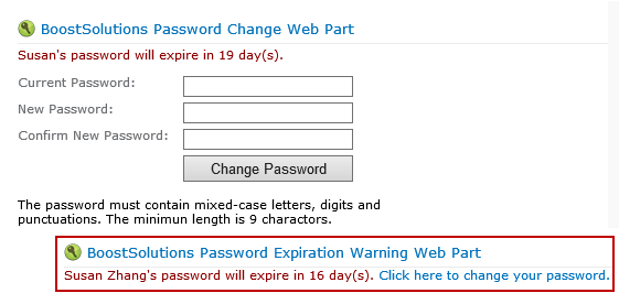 SharePoint Password Change & Reset Pack Screenshot 1