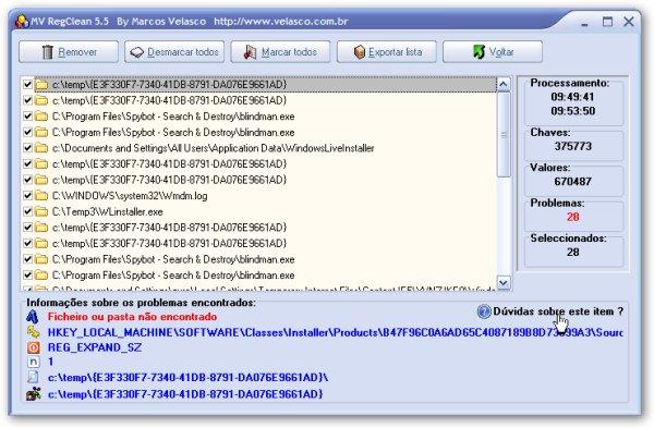 MV RegClean Screenshot 2