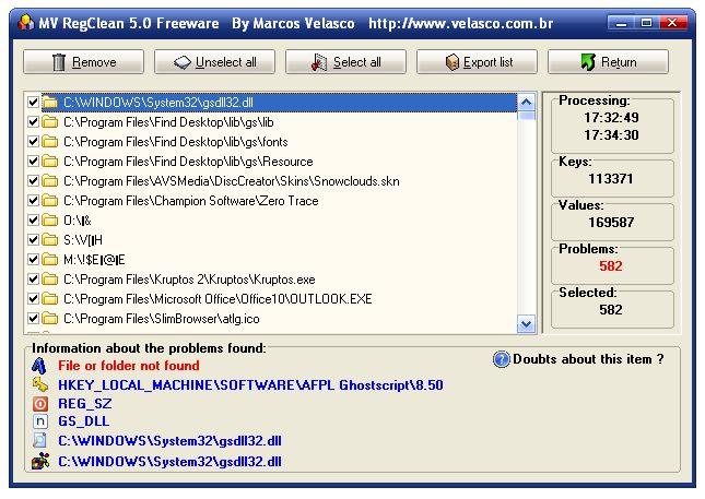MV RegClean Screenshot 3