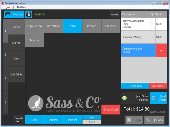 SASS POS for Cafes and Restaurants Screenshot