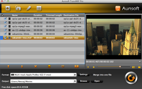 Aunsoft TransMXF Pro for Mac Screenshot