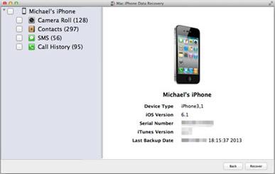 Mac iPhone Data Recovery Screenshot
