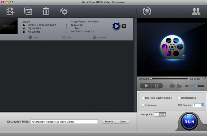 MacX Free MPEG Video Converter Screenshot