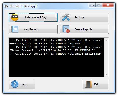 PCTuneUp Free Keylogger Screenshot