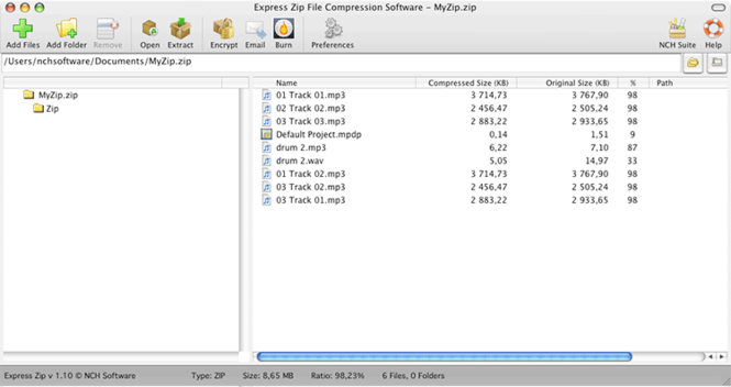 Express Zip Free Mac Compression Program Screenshot