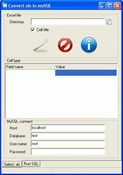 Xls2MySQL Screenshot