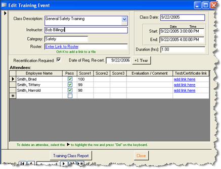 SBS Training Database Screenshot 1