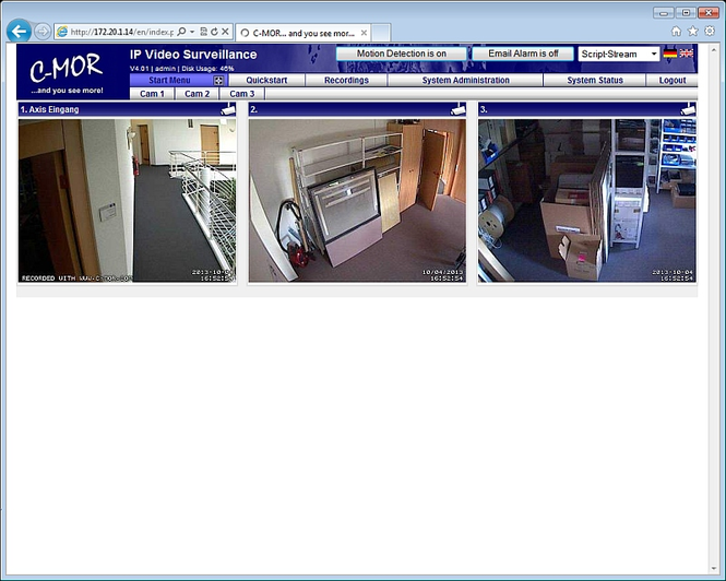 C-MOR IP Video Surveillance VM Software Screenshot 1