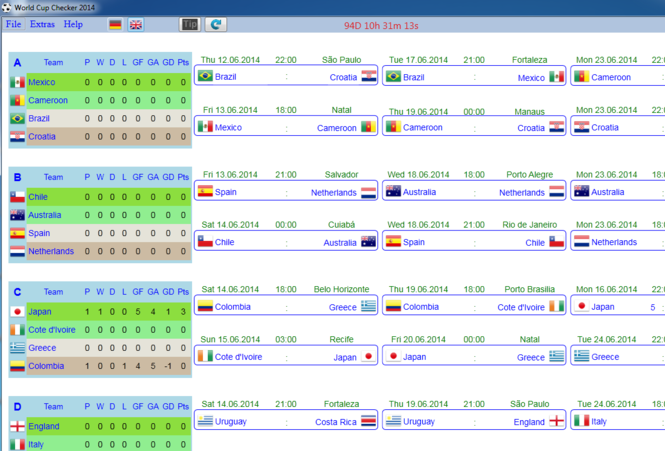 World Cup Checker 2014 Screenshot
