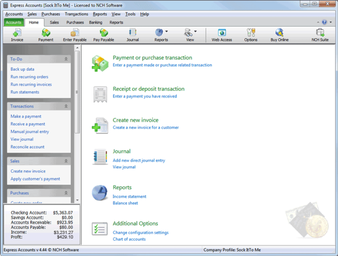 Express Accounts Free Accounting Software Screenshot