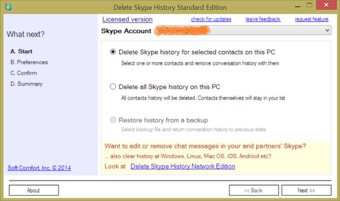 Delete Skype History Standard Edition Screenshot