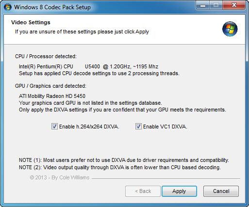 Windows 8 Codec Pack Screenshot 1