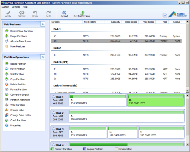 AOMEI Partition Assistant Lite Edition Screenshot