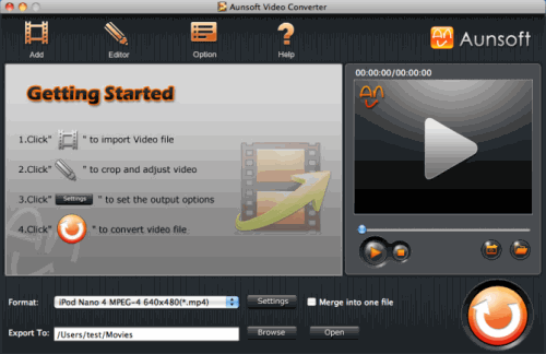Aunsoft Video Converter for Mac Screenshot