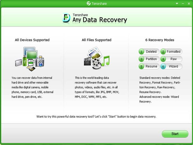 Tenorshare Free Any Data Recovery Screenshot