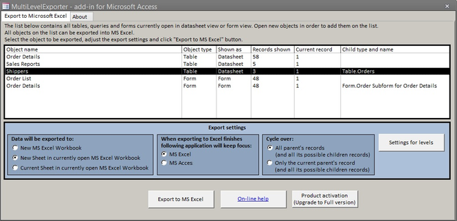 MultiLevelExporter Screenshot