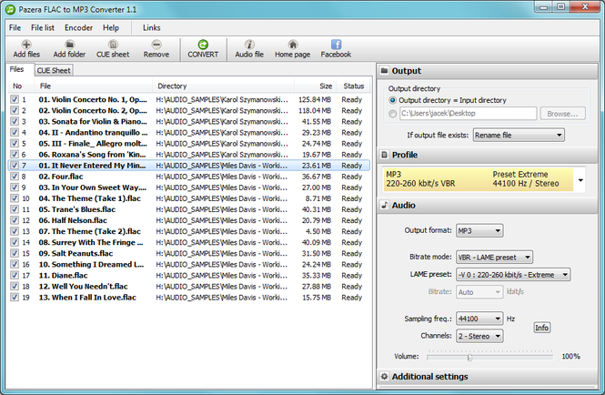 Pazera FLAC to MP3 Converter Screenshot