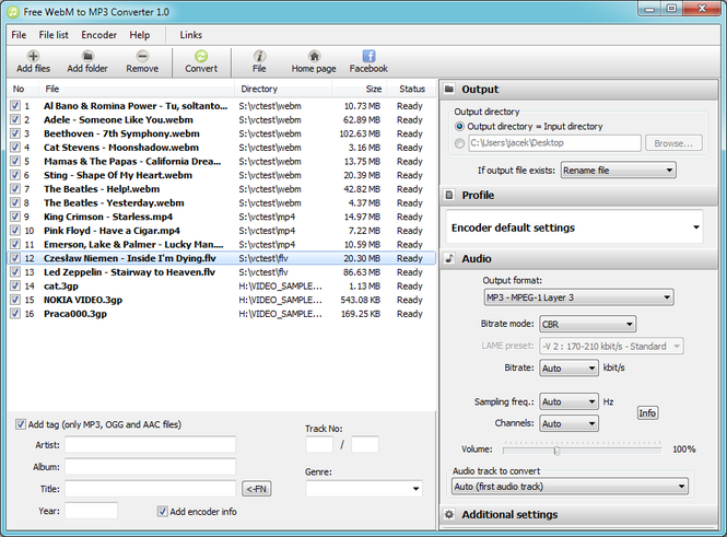 Free WebM to MP3 Converter Screenshot
