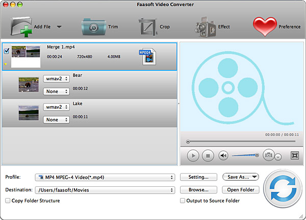 Faasoft Video Converter for Mac Screenshot
