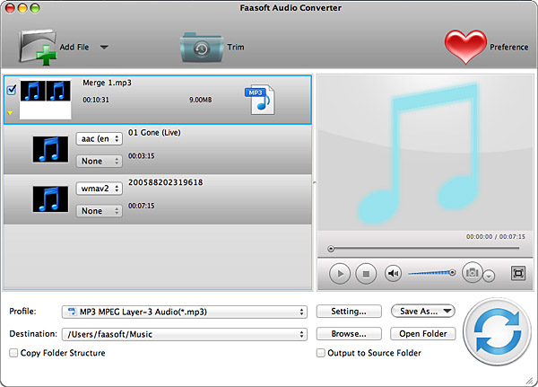 Faasoft Audio Converter for Mac Screenshot