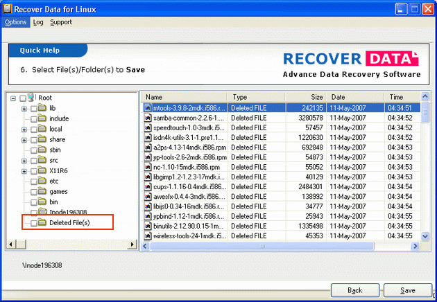 Ideal Linux Data Recovery Software Screenshot