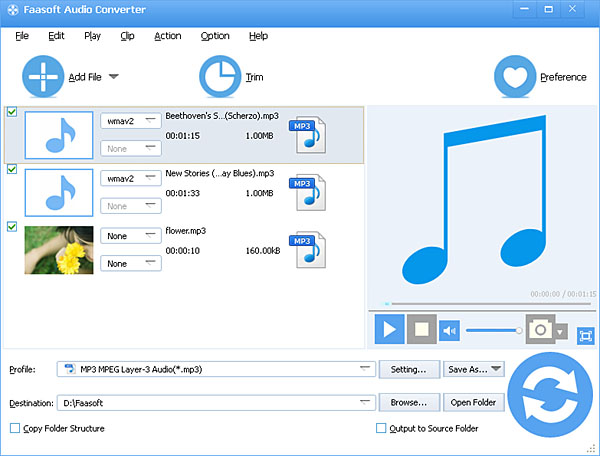 Faasoft Audio Converter Screenshot 1