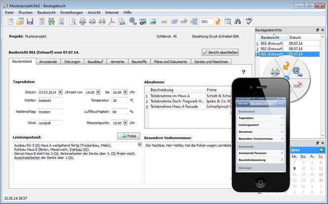 Bauskript Bautagebuch Screenshot