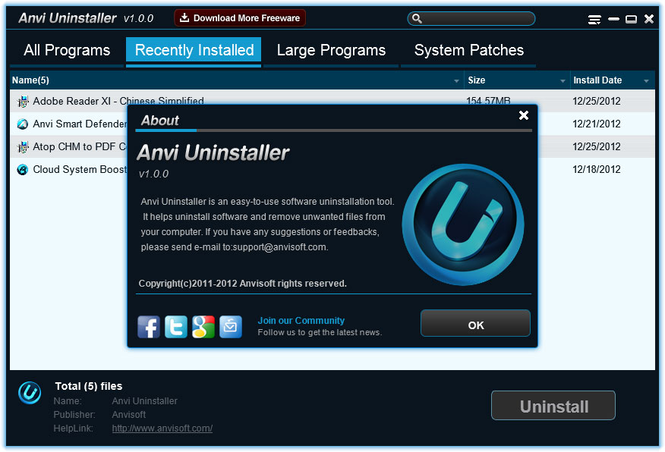 Anvi Uninstaller Screenshot 1