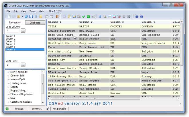 CSVed Screenshot 1