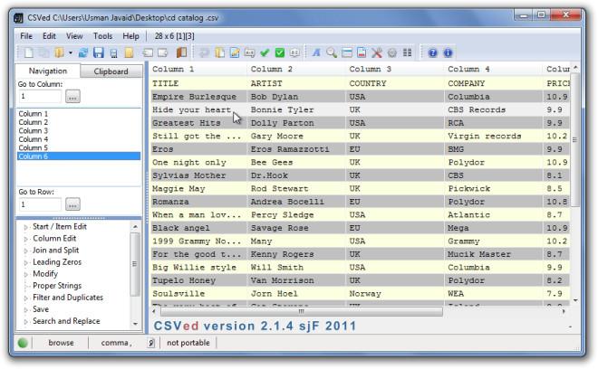 CSVed Screenshot