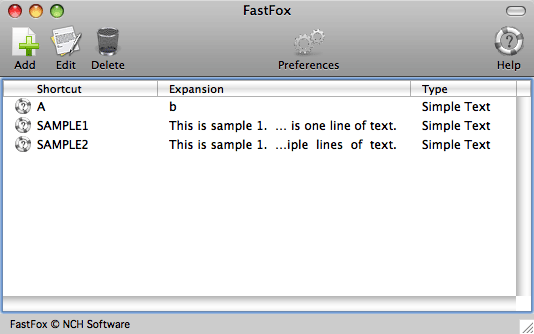 FastFox Text Expander for Mac Screenshot