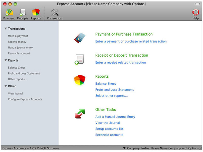 Express Accounts Free for Mac Screenshot