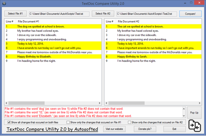 TextDoc Compare Utility Screenshot
