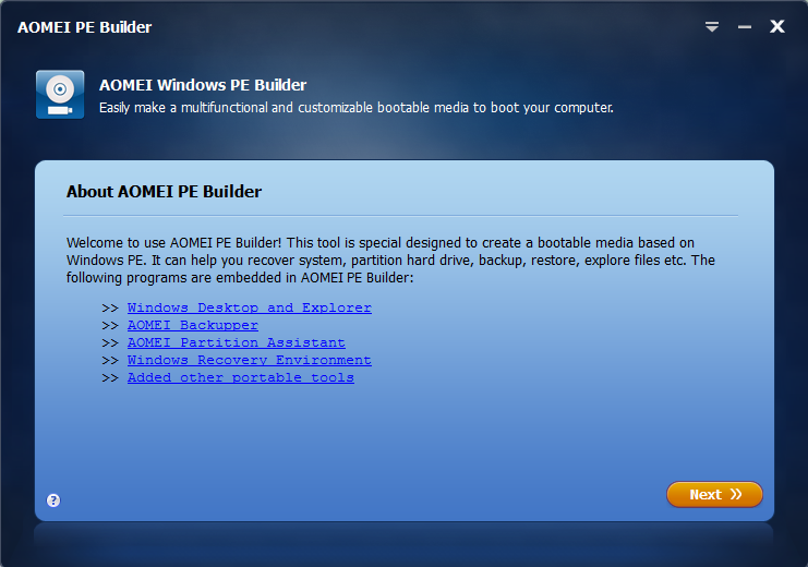 AOMEI PE Builder Screenshot 2
