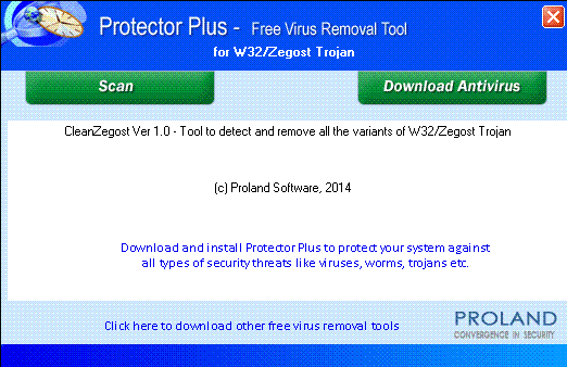 W32/CleanZegost  Free Trojan Removal Tool Screenshot 1