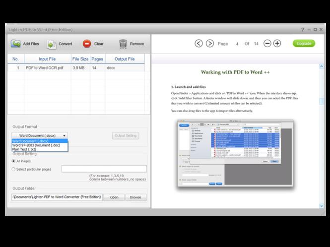 Lighten PDF to Word Free Edition Screenshot